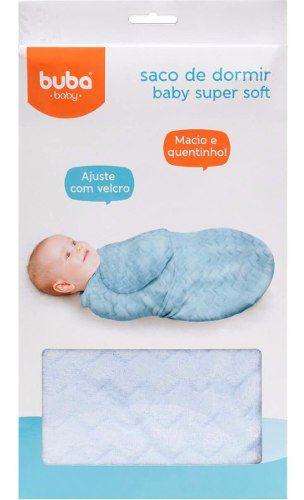 Saco De Dormir Bebe Coberta Manta Azul Super Soft Velcro De Fechameto Ajustavel Buba Baby.