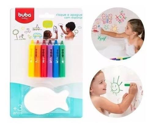 Kit 6 Lapis Coloridos Para O Bebe Crianca Desenhar Rabiscar Buba Baby Risque Apague Brinquedo De Banho Para Azulejos .