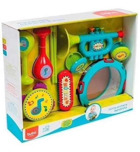 Minha Primeira Bandinha Brinquedo Jogo Musical Multicores Unisex Desenvolve Coordenação Motora 10 Pecas Buba Baby
