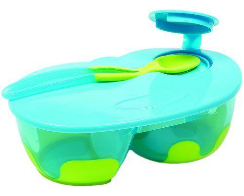 Pratinho Cor Azul Com Divisoria Kit Refeicao Com Colher Tampa Pote Infantil Buba Baby Menino.