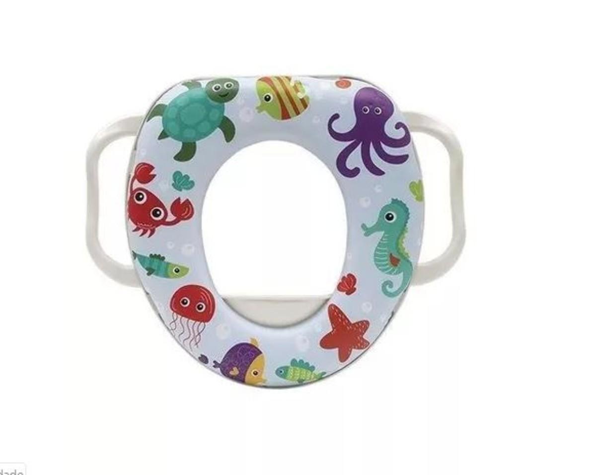Assento Redutor Buba Baby Com Alca Para Vaso Sanitario Unisex Multicor Crianca Modelo Fundo do Mar Infantil.