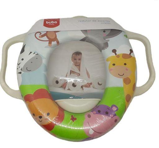 Assento Redutor Buba Baby Com Alca Para Vaso Sanitario Unisex Multicor Crianca Modelo Safari Infantil .
