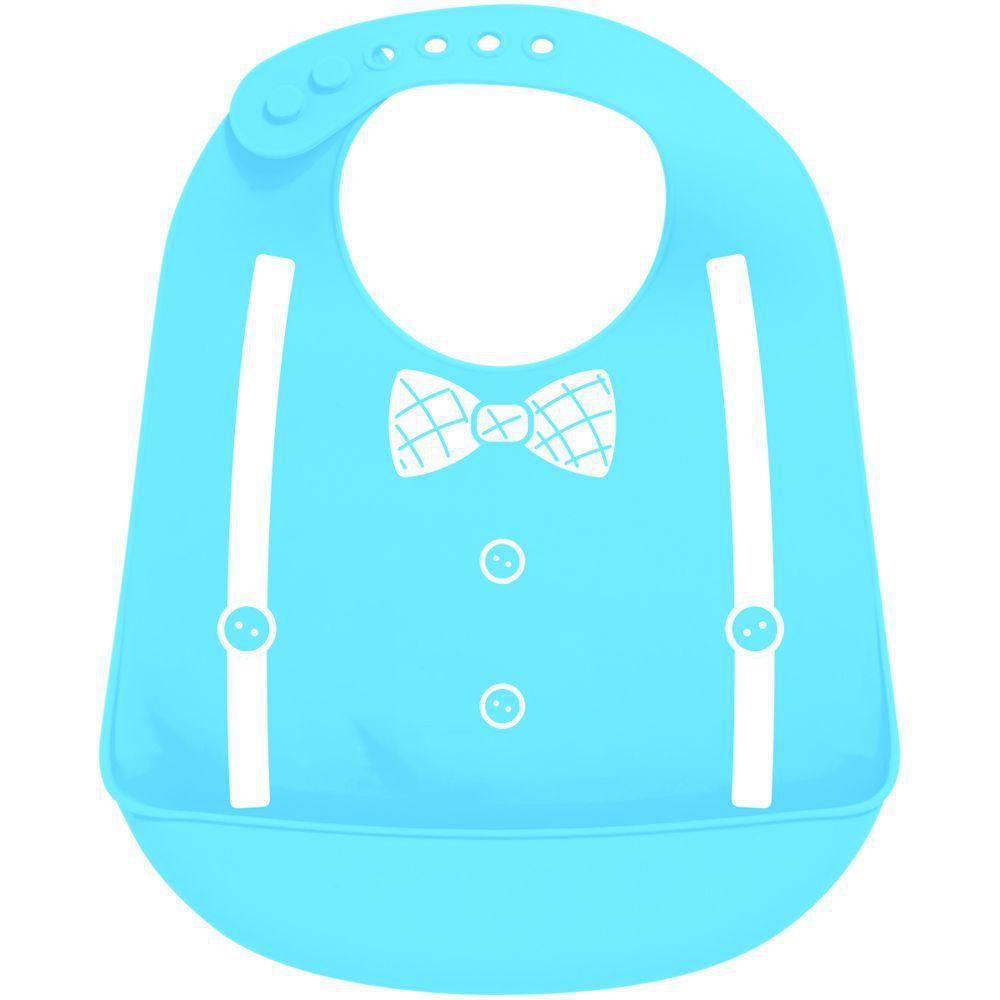 "Babador Buba Baby Silicone Pega Migalhas Formato Gravata Cor Azul Bebe Fechamento botoes ajustaveis. """