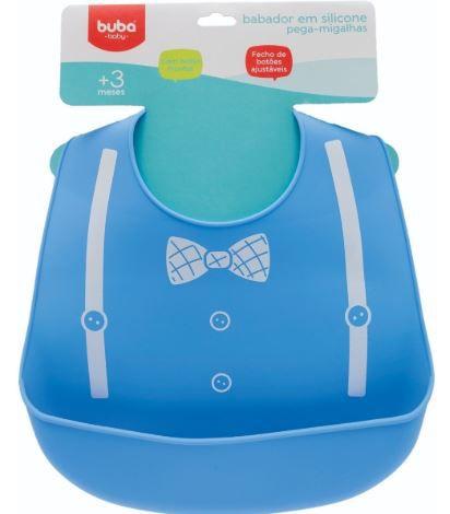 Babador Em Silicone Com Pega Migalhas Azul Gravata Buba Baby