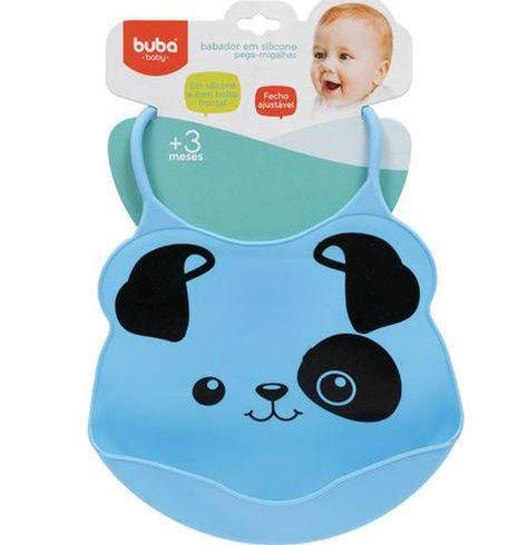 Babador Panda com bolso Cata Migalhas Silicone Bebe Crianca resistente a agua Menina ou menino.