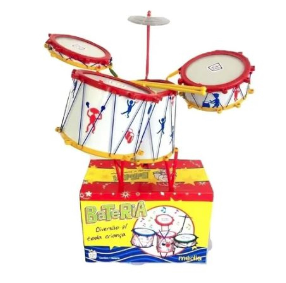 Bateria Musical Media Infantil Tabum, 4 Tambores 1 Prato