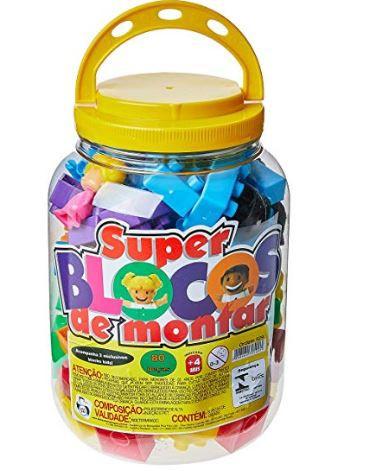 Bloquinhos Pote 80pcs Montar Montar Divertido Infantil .