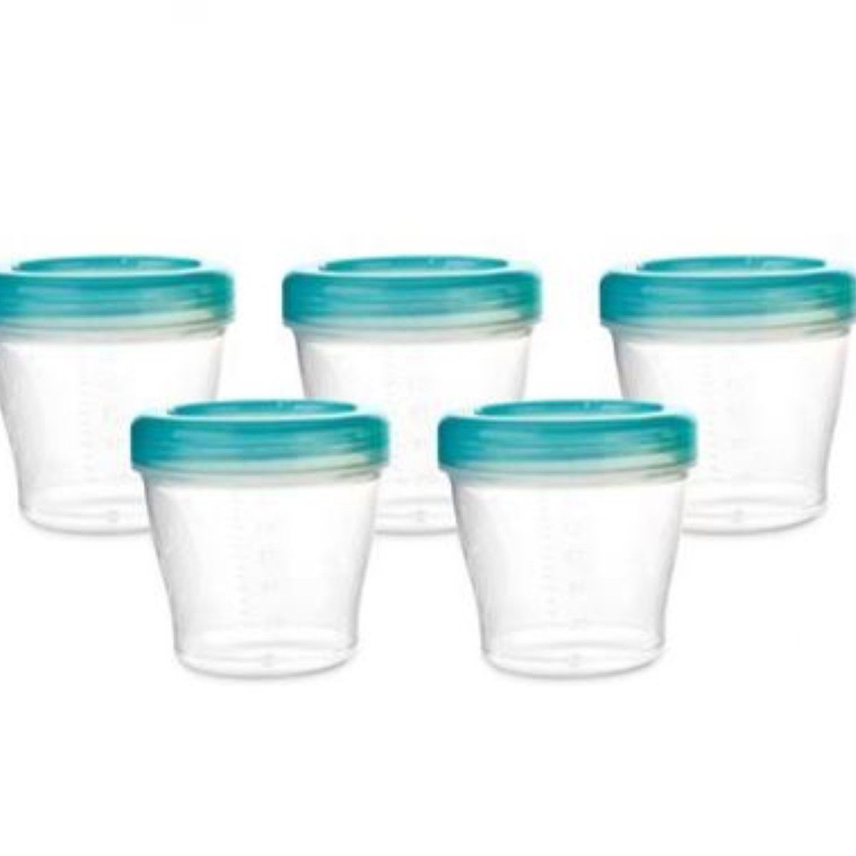 Kit 5 Potes Conjunto para Armazenar e Congelar a papinha e o Leite Materno Cada potinho Comporta Ate 150 Ml Kababy.