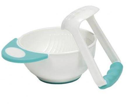 Kit Amassador De Papinha Com Tigela Azul Para Bebê Criança Buba Baby