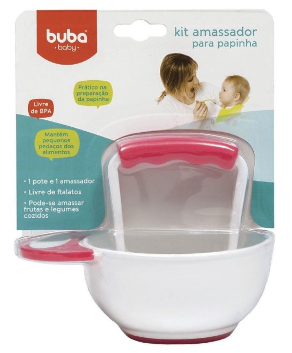 Kit Amassador De Papinha Com Tigela Rosa Para Bebês