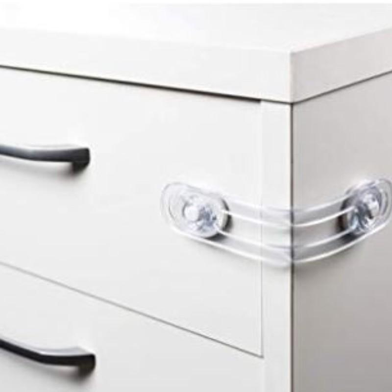 Kit com 04 Travas pvc para gavetas geladeiras e armarios