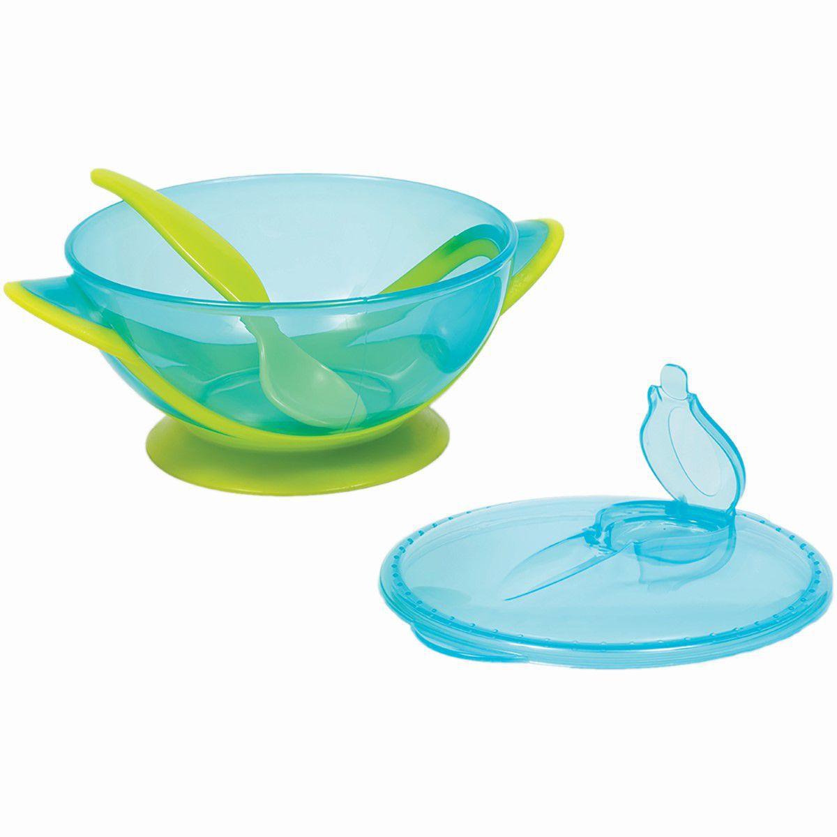 Kit Refeicao Buba Baby Azul Livre De Bpa Pote com Tampa Ventosa Compartimento para guardar Colher .