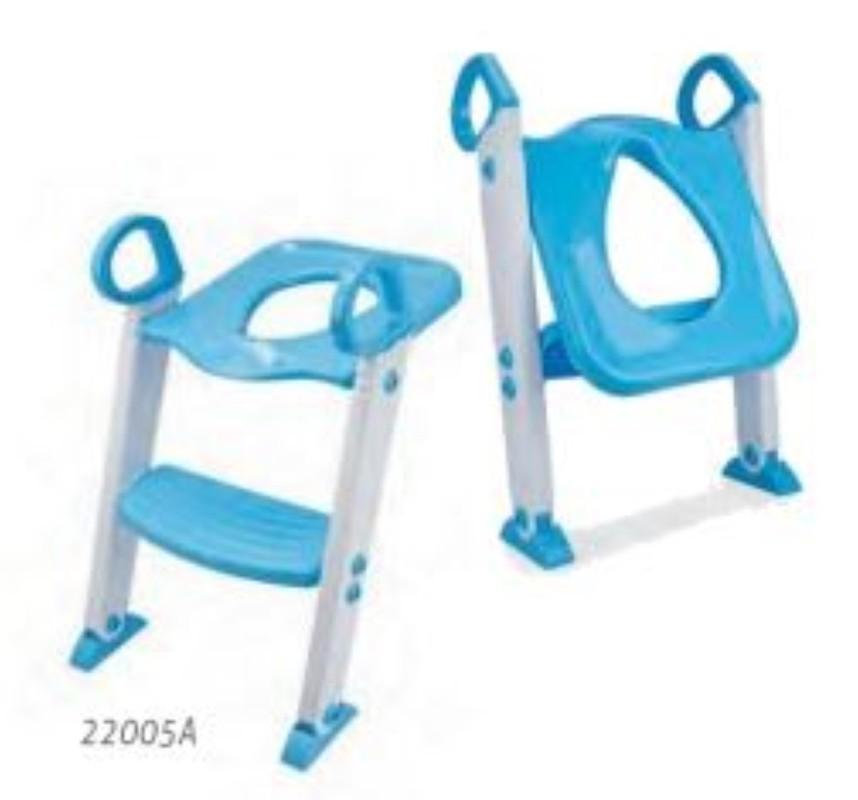 Redutor De Assento Com Escada Infantil Vaso Sanitário Fixador Articulavel Altura Ajustavel Pe Antiderrapante Azul KABABY.
