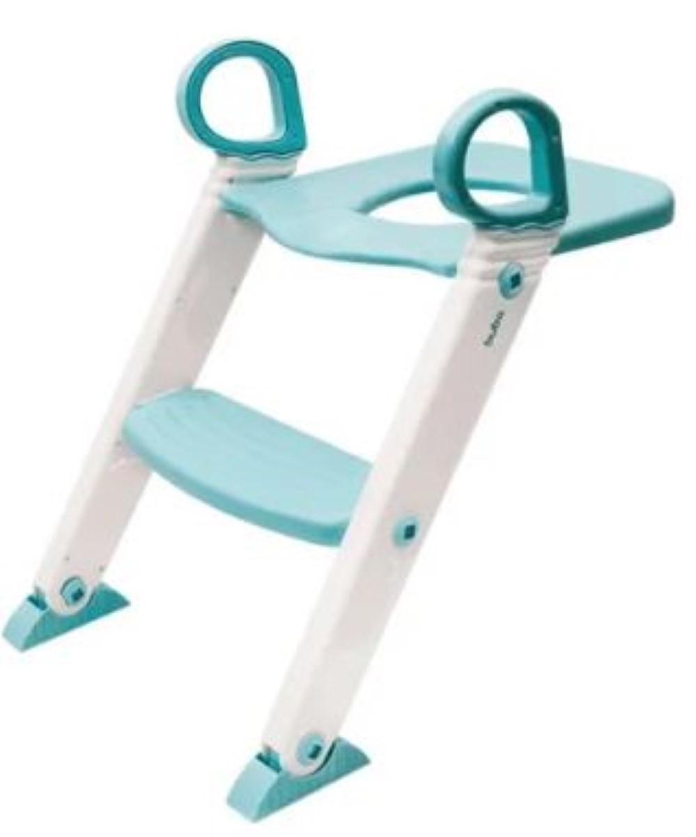 Redutor De Assento Com Escada Infantil Vaso Sanitário Fixador Articulavel Altura Ajustavel Pe Antiderrapante Azul Buba.