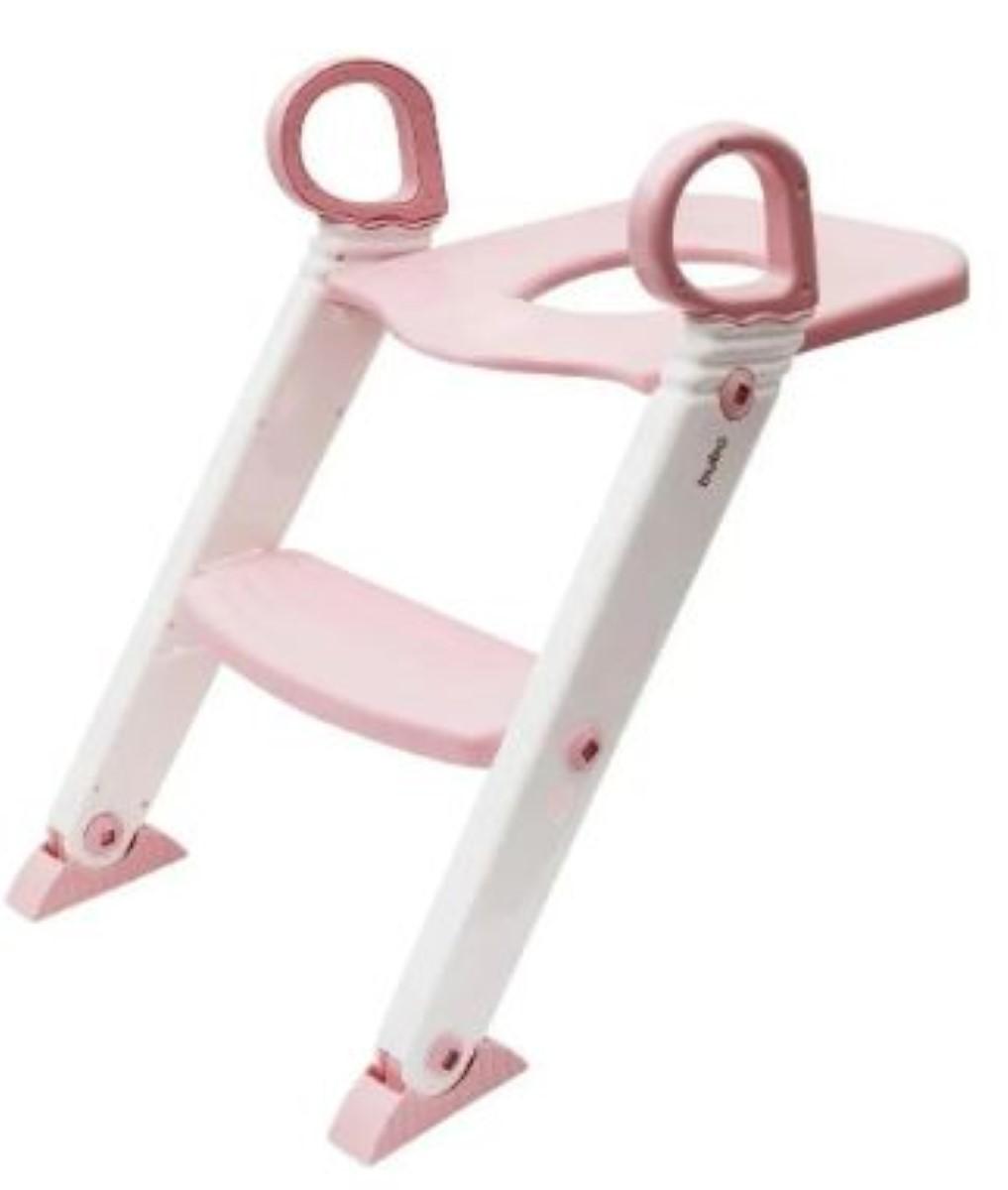 Redutor De Assento Com Escada Rosa Buba Crianca Vaso Sanitário Fixador Articulavel Altura Ajustavel Pe Antiderrapante.