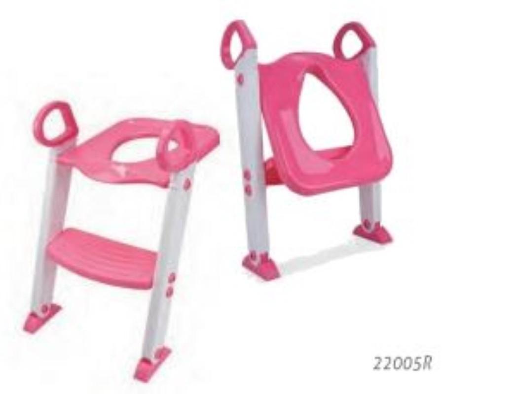 Redutor De Assento Com Escada Rosa KABABY Crianca Vaso Sanitário Fixador Articulavel Altura Ajustavel Pe Antiderrapante.