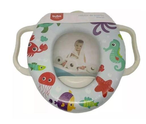 Redutor Sanitário Infantil Encaixa Perfeitamente Modelo Fundo Do Mar Para Bebe Macio Acolchoado Buba Baby.