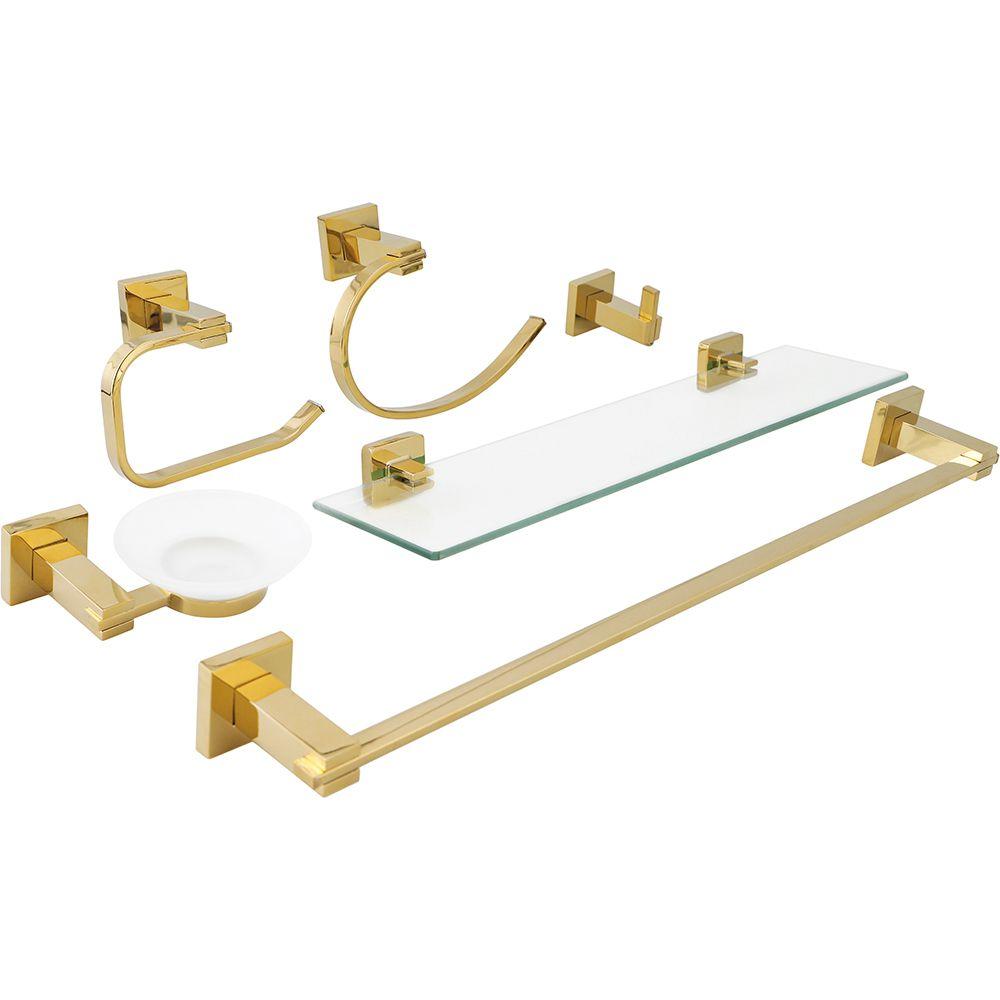 Acessórios para Banheiro Quadrado 6 peças São Francisco Pingoo.casa - Dourado