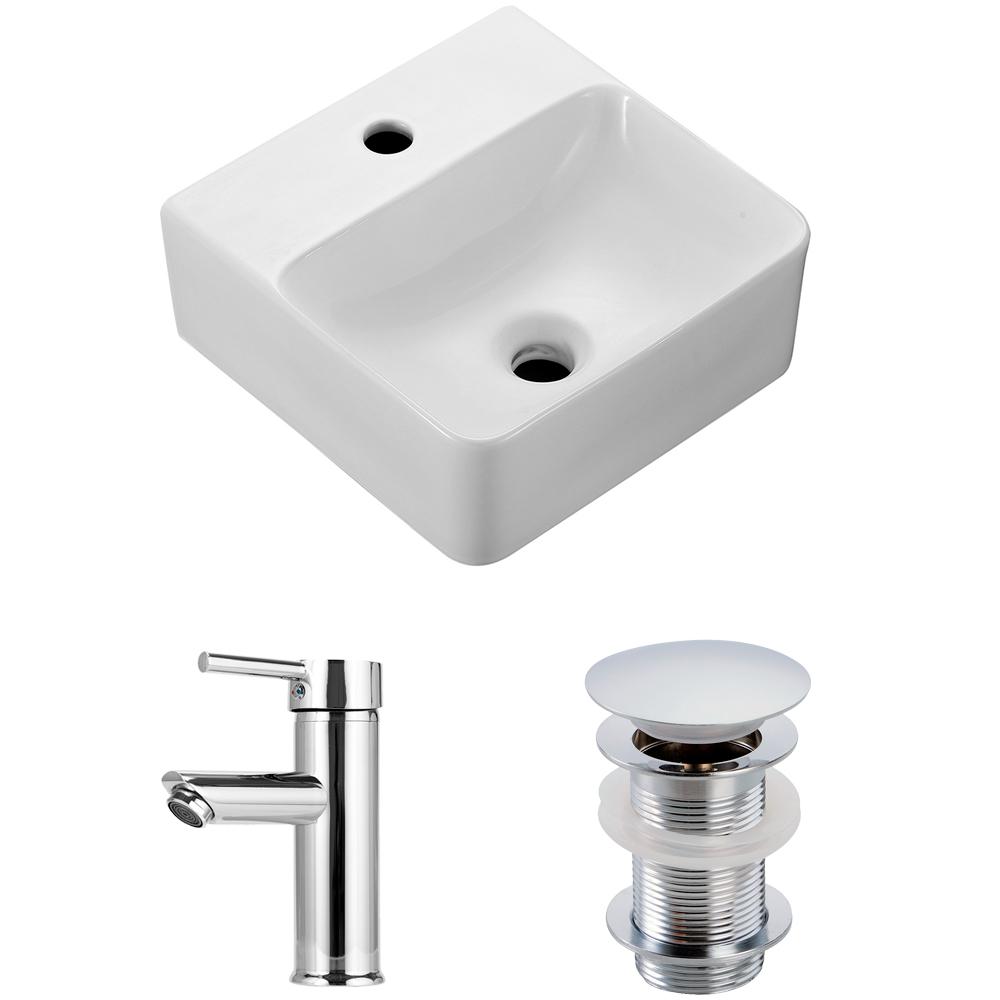 Cuba de apoio para banheiro em porcelana Ágata com Torneira monocomando xingu e válvula click PIngoo.casa