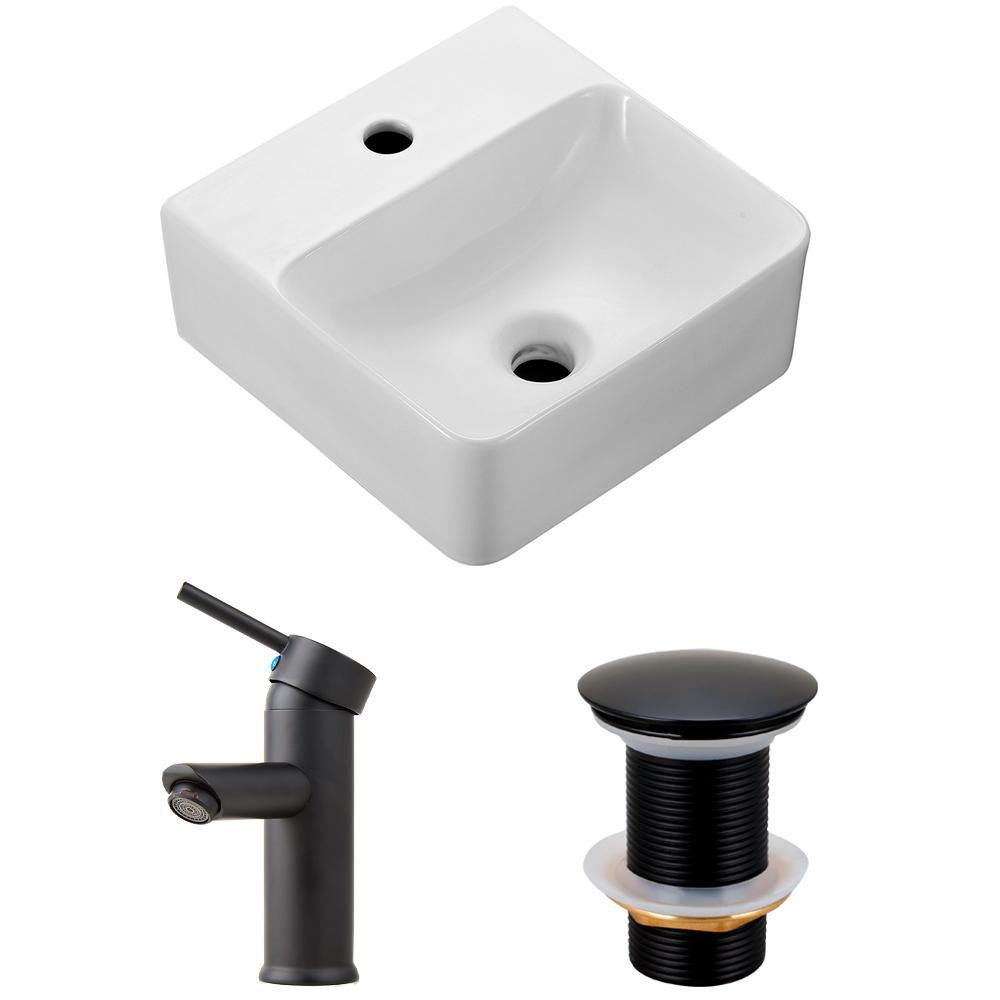Cuba de apoio para banheiro em porcelana Ágata com Torneira monocomando xingu e válvula click PIngoo.casa - Preto e branco