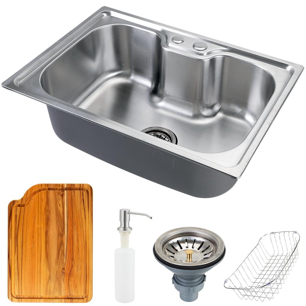 Cuba para cozinha gourmet pia aço inox com acessórios e tábua de corte Nawa 50 cm pingoo.casa