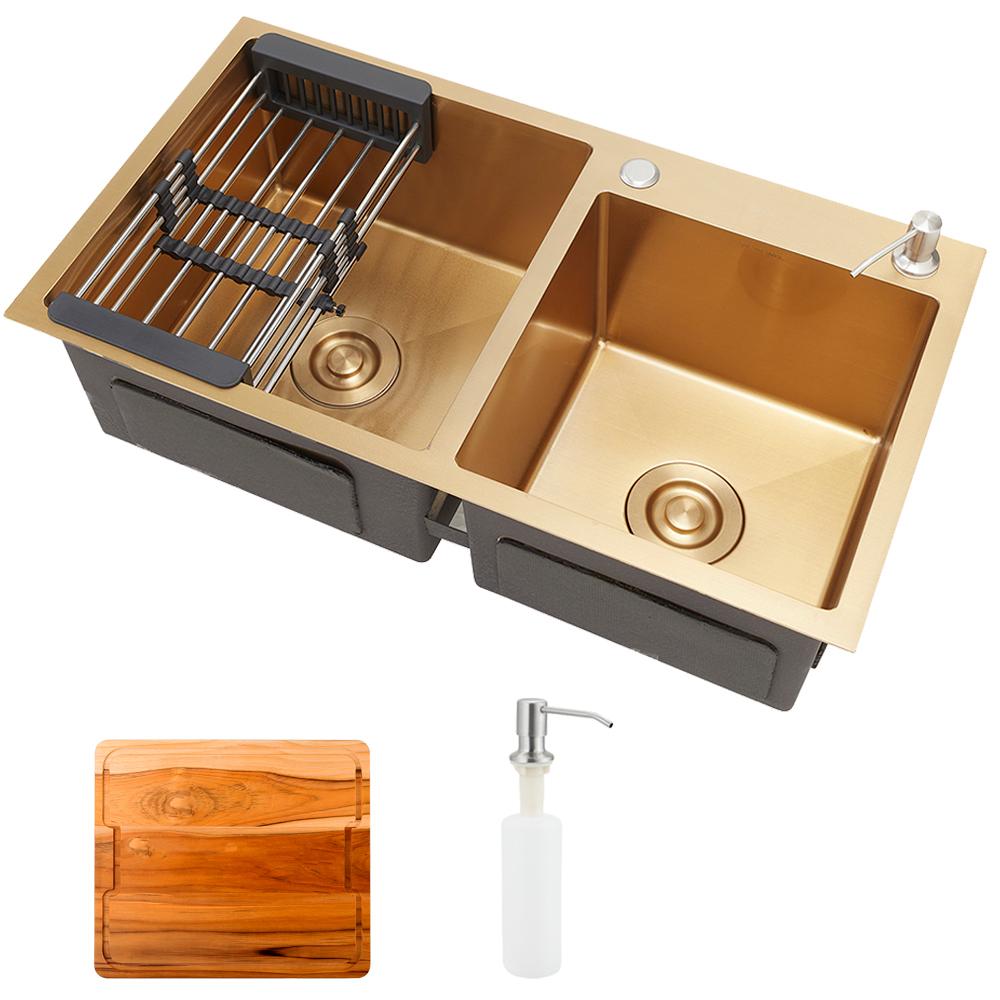 Cuba para cozinha pia dupla em aço inox com acessórios e tábua de corte Awá PIngoo.casa - Dourado
