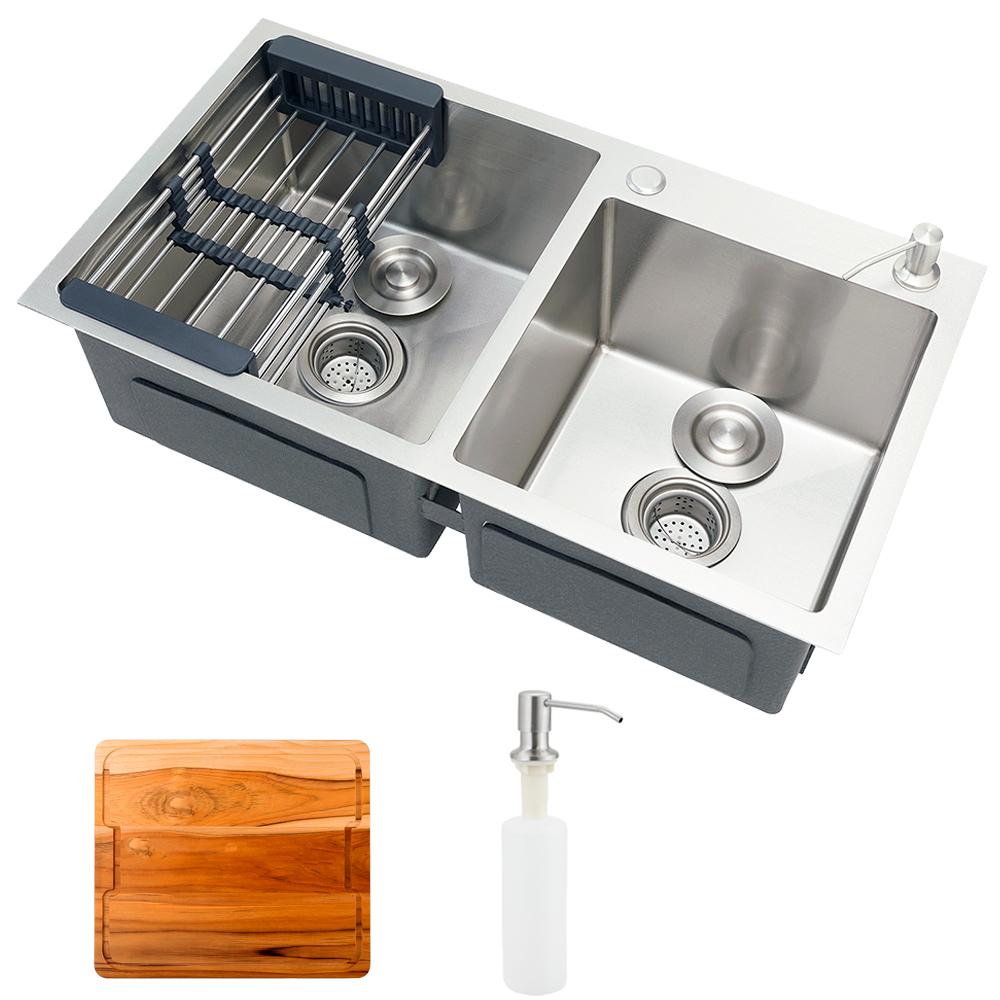 Cuba para cozinha pia dupla em aço inox com acessórios e tábua de corte Awá PIngoo.casa - Prata