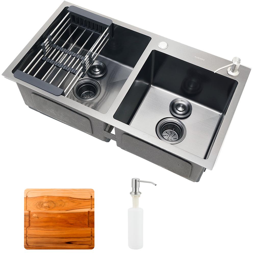 Cuba para cozinha pia dupla em aço inox com acessórios e tábua de corte Awá PIngoo.casa - Preto