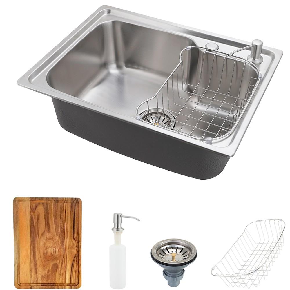 Cuba para cozinha pia inox Matis com acessórios e tábua de corte PIngoo.casa - Prata