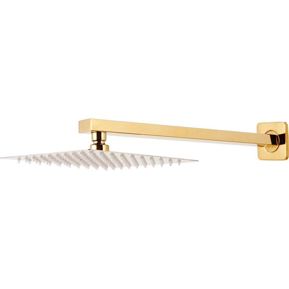 Ducha Chuveiro Inox 20cm com Braço 40cm Mundaú Pingoo.casa - Dourado