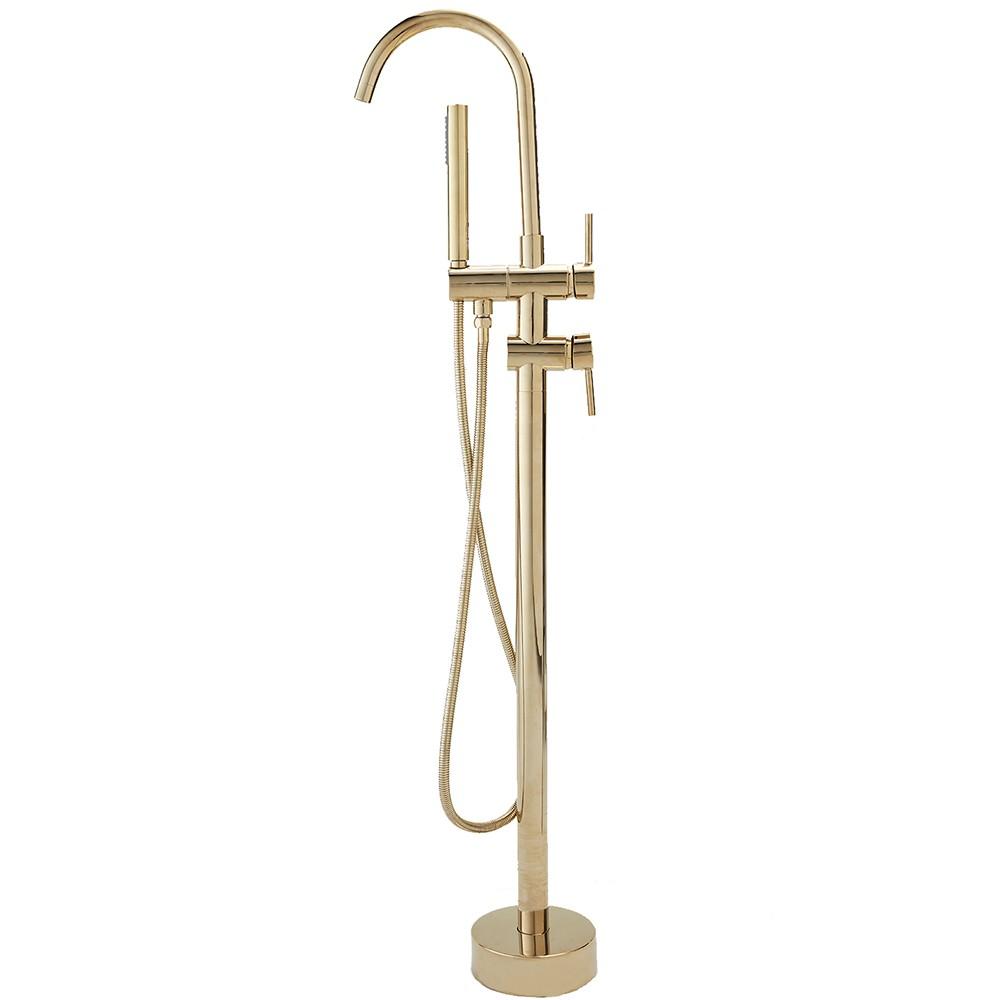 Misturador para banheira Monocomando de Piso Uraim Pingoo.casa - Dourado