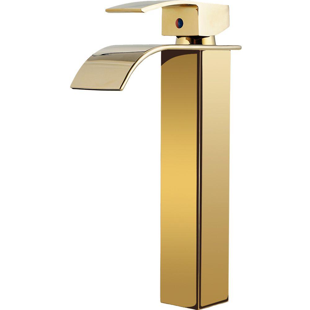 Torneira para banheiro cascata misturador monocomando alta Paraná Pingoo.casa - Dourado