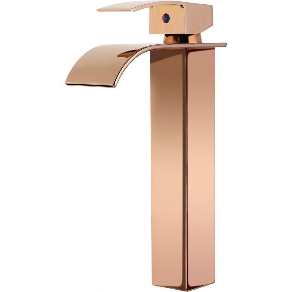 Torneira para banheiro cascata misturador monocomando alta Paraná Pingoo.casa - Dourado rose