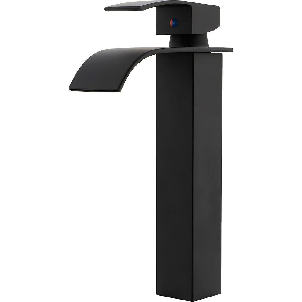Torneira para banheiro cascata misturador monocomando alta Paraná Pingoo.casa - Preto