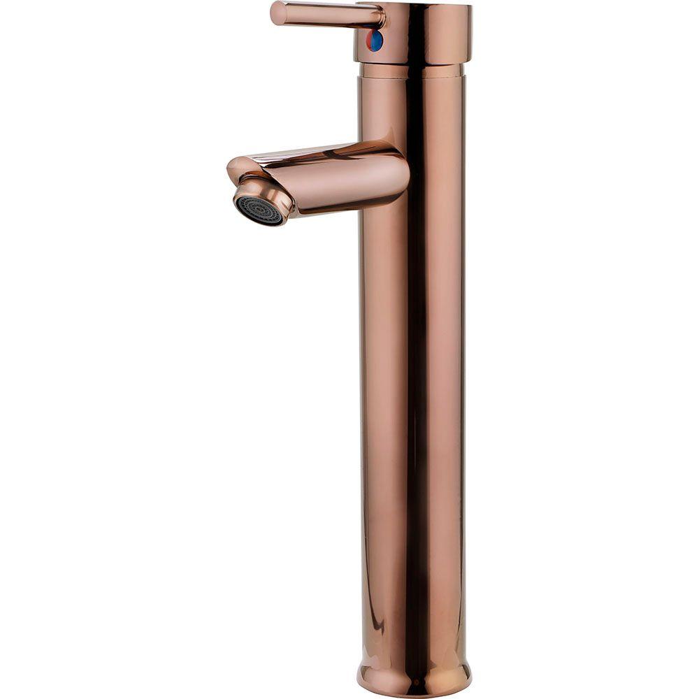 Torneira para banheiro cascata Misturador Monocomando Alta Xingu Pingoo.casa - Dourado Rose
