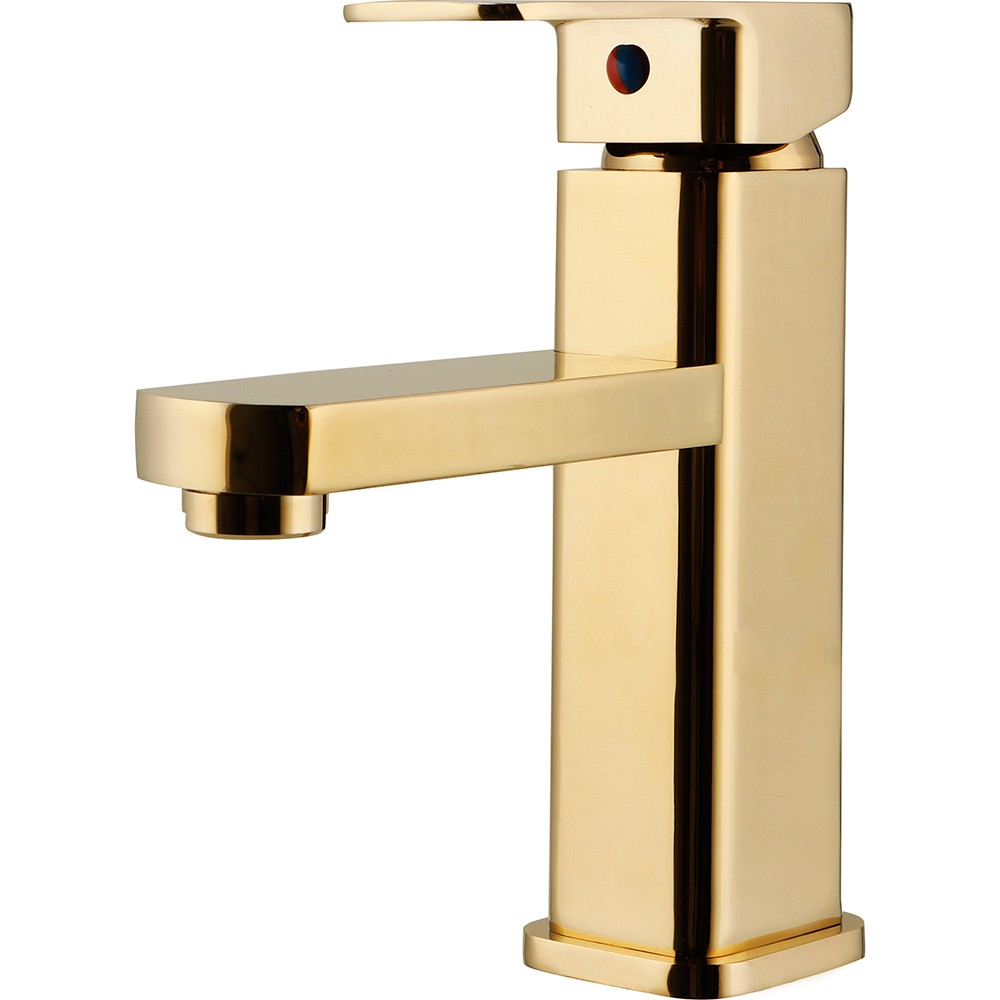 Torneira para banheiro cascata Misturador Monocomando Baixa Madeira Pingoo.casa - Dourado