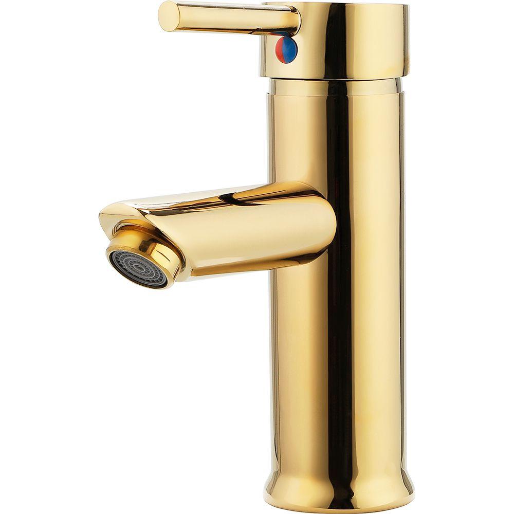 Torneira para banheiro cascata Misturador Monocomando Baixa Xingu Pingoo.casa - Dourado