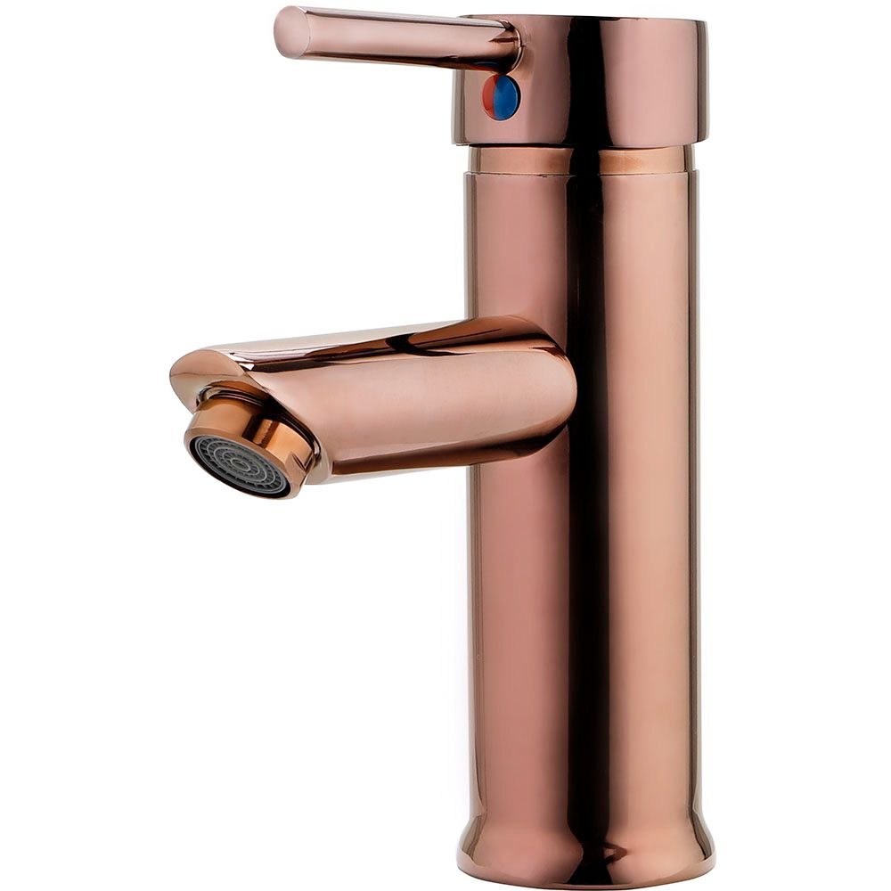 Torneira para banheiro cascata Misturador Monocomando Baixa Xingu Pingoo.casa - Dourado Rose