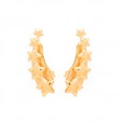 Brinco Ear Cuff Estrelas Semijoia Banho em Ouro 18K