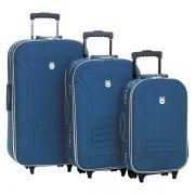 Conjunto Malas de Viagem Batiki Rodinhas e Cadeado BTK 65 Azul