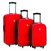 Conjunto Malas de Viagem Batiki Rodinhas e Cadeado BTK 65 Vermelha