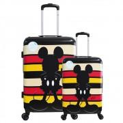 Kit Malas Viagem Tam P, M Bordo 360° Cadeado Mickey Disney Listras