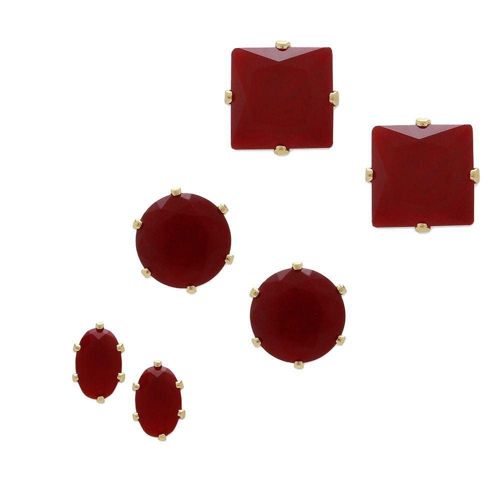 3 Pares de Brincos Pequenos com Zircônia Banho em Ouro 18K
