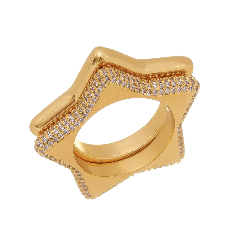 Anel Duplo Estrela Cravejado com Microzircônias Banho Ouro 18k