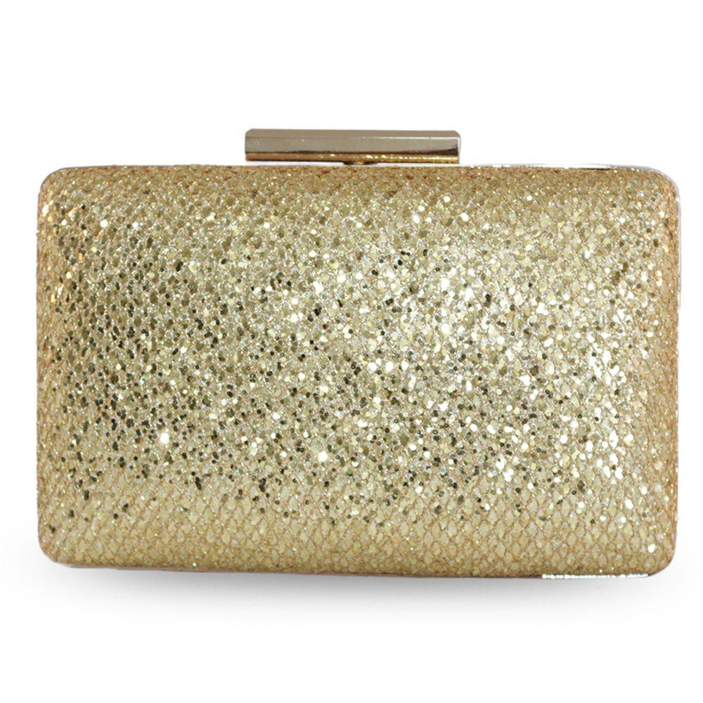 Bolsa de Festa Clutch com Glitter Dourado