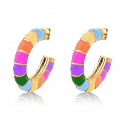 Brinco Argola Esmaltada Rainbow Semijoia Banho Ouro