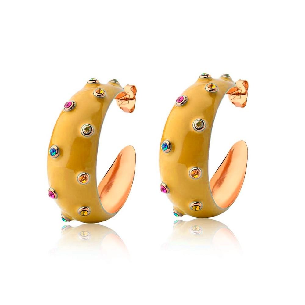Brinco Argola Esmaltado Cravejado com Zircônias Coloridas Banho Ouro 18K