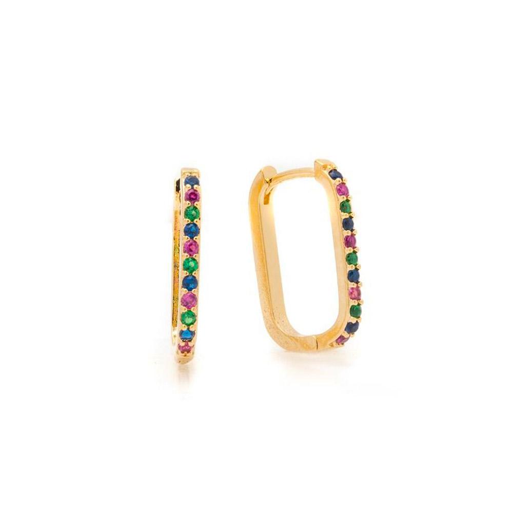 Brinco Argola Rainbow Retangular Zircônias Coloridas Banho Ouro 18K