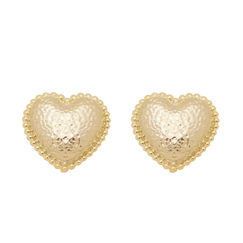Brinco Coração Vintage Martelado Semijoia Banho Ouro e Ródio Branco