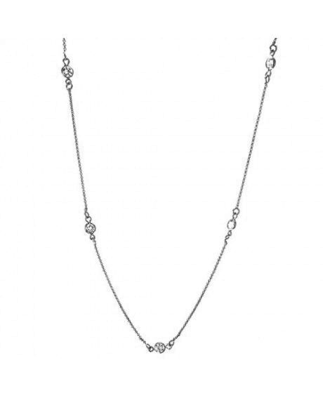 Colar Longo Tiffany Inspired com cristais e banho em Ródio Negro